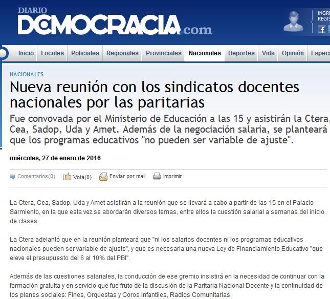 Nueva reunión con los sindicatos docentes nacionales por las paritarias - Diario Democracia - Noticias - Junín - Buenos Aires - Argentina