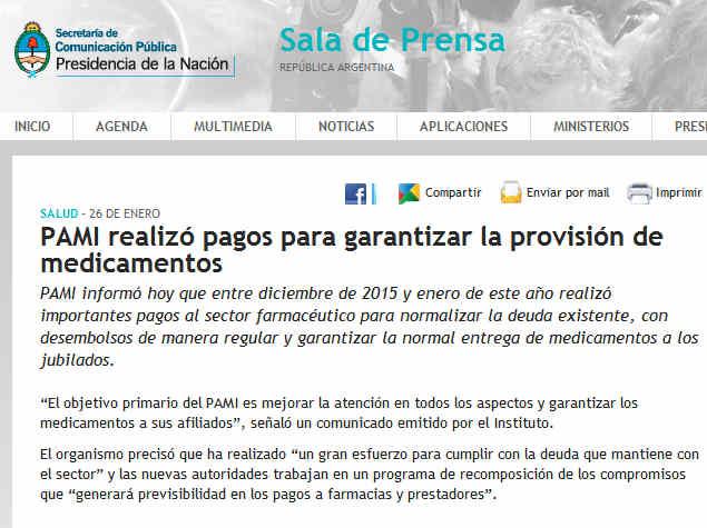 PAMI realizó pagos para garantizar la provisión de medicamentos