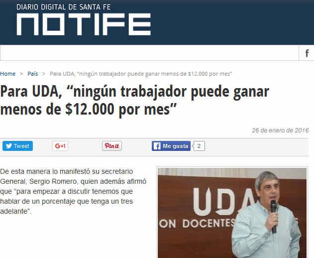 """Para UDA, """"ningún trabajador puede ganar menos de $12.000 por mes"""" - Notife"""