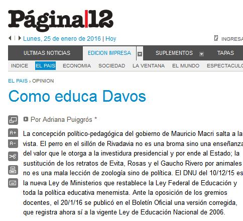 Página-12 El país Como educa Davos