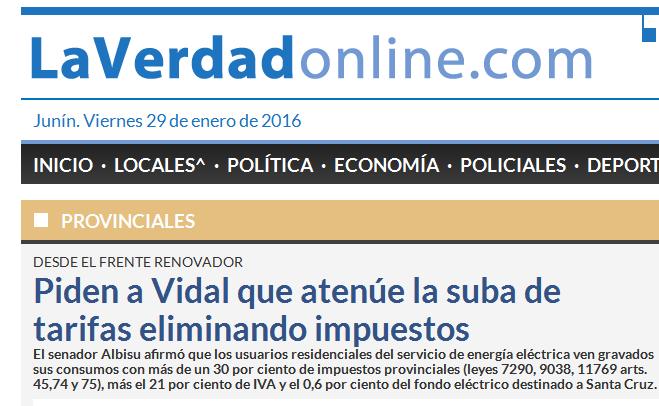 Piden a Vidal que atenúe la suba de tarifas eliminando impuestos - Provinciales - Diario La Verdad