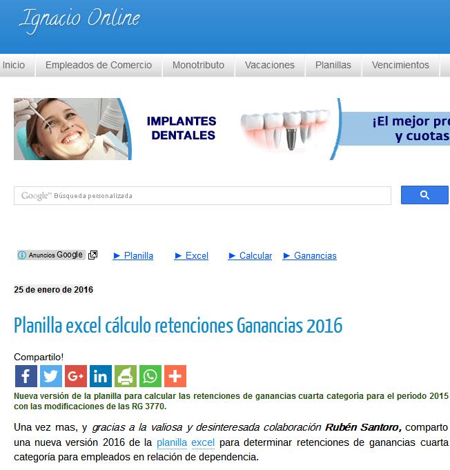 Planilla excel cálculo retenciones Ganancias 2016 - Ignacio online