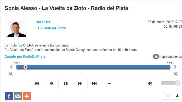 Sonia Alesso - La Vuelta de Zloto - Radio del Plata - Radiocut