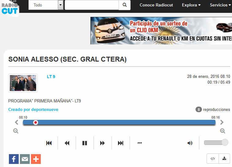 SONIA ALESSO (SEC. GRAL CTERA) - Radiocut