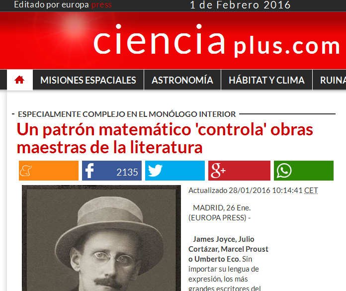 Un patrón matemático 'controla' obras maestras de la literatura