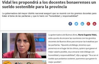 Vidal les propondrá a los docentes bonaerenses un sueldo sostenible para la provincia - El Diario 24