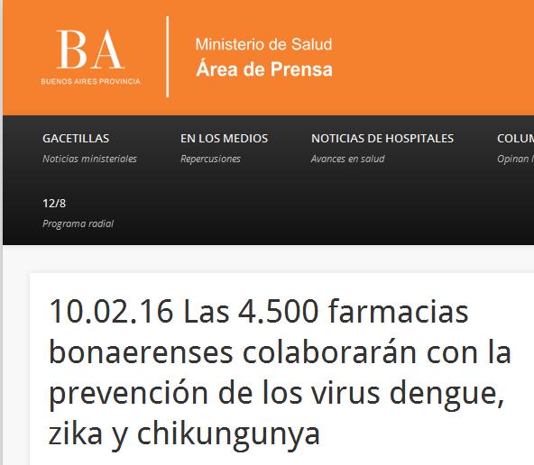 10.02.16 Las 4.500 farmacias bonaerenses colaborarán con la prevención de los virus dengue, zika y chikungunya