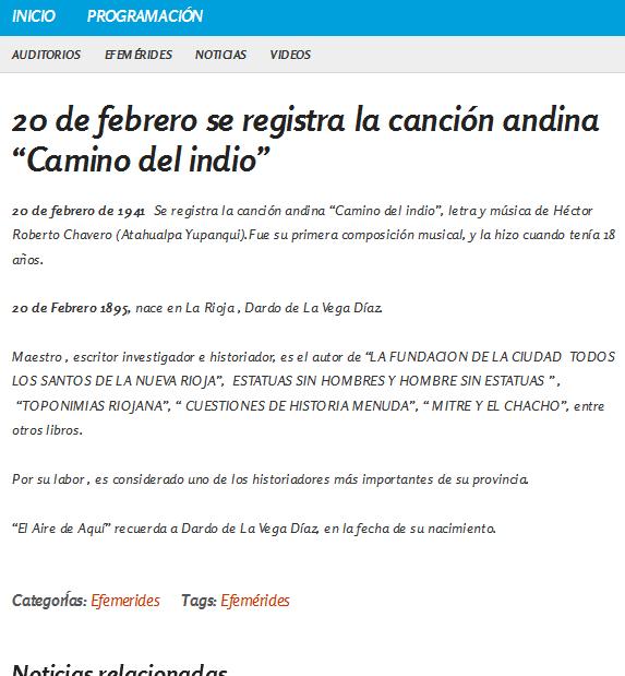 """20 de febrero se registra la canción andina """"Camino del indio"""" - Nacional Folklórica"""
