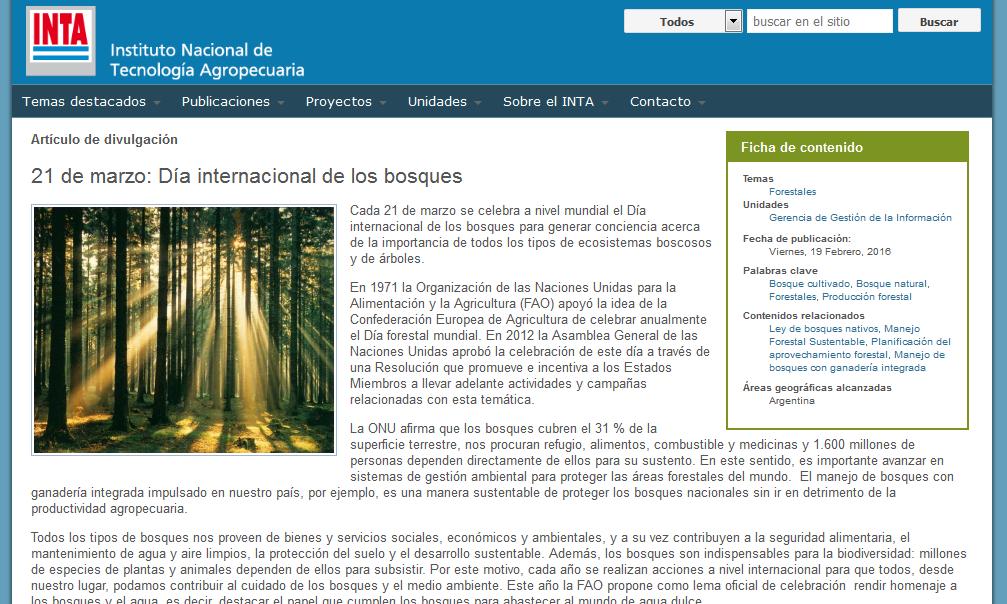 21 de marzo Día internacional de los bosques - INTA  Instituto Nacional de Tecnología Agropecuaria