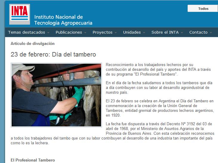 23 de febrero Día del tambero - INTA Instituto Nacional de Tecnología Agropecuaria