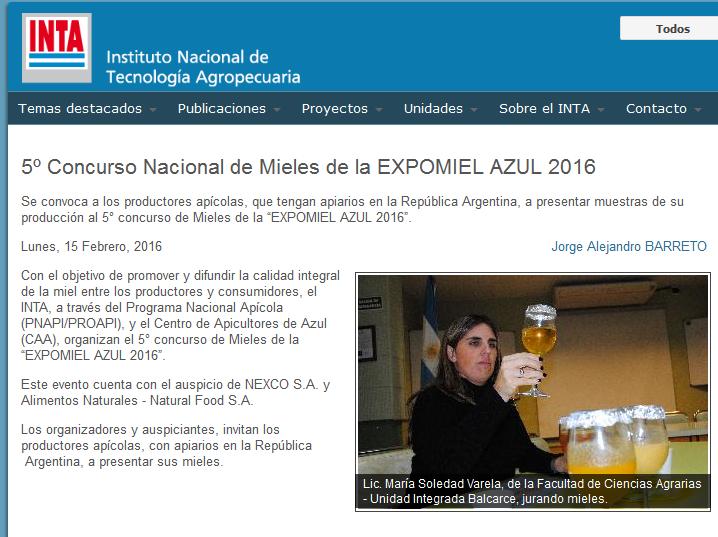 5º Concurso Nacional de Mieles de la EXPOMIEL AZUL 2016 - INTA Instituto Nacional de Tecnología Agropecuaria