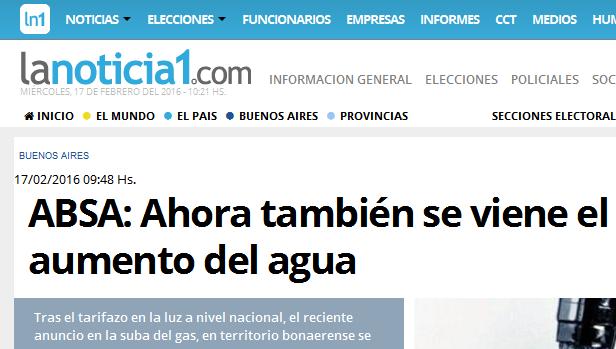 ABSA Ahora también se viene el aumento del agua - LaNoticia1.com