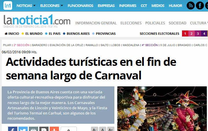 Actividades turísticas e Carnaval