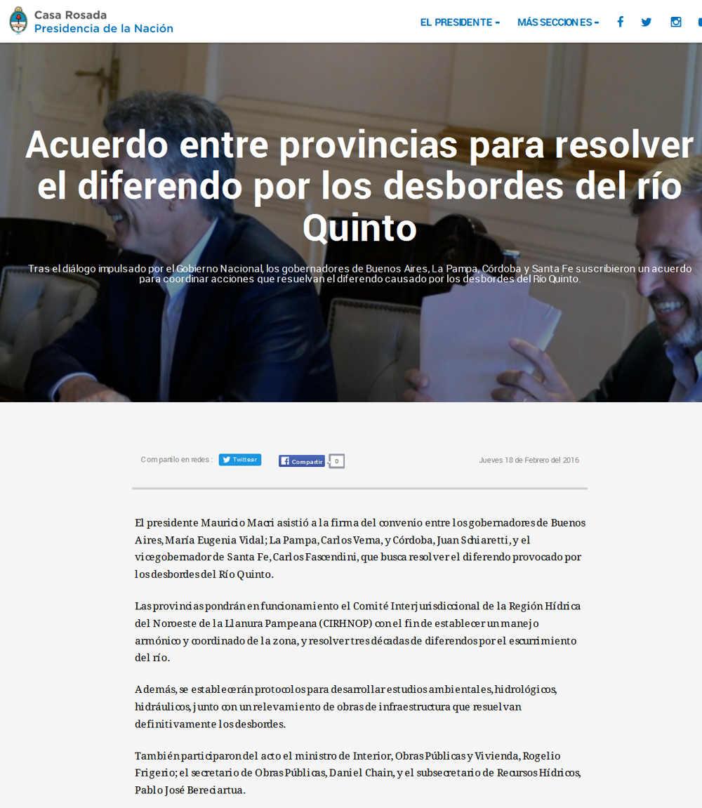 Acuerdo entre provincias para resolver el diferendo por los desbordes del río Quinto