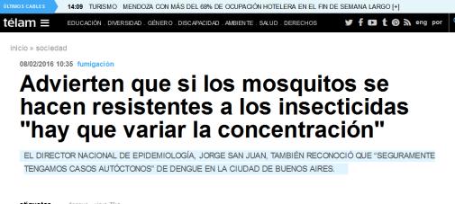 Advierten que si los mosquitos se hacen resistentes a los insecticidas 'hay que variar la concentración' - Télam - Agencia Nacional de Noticias