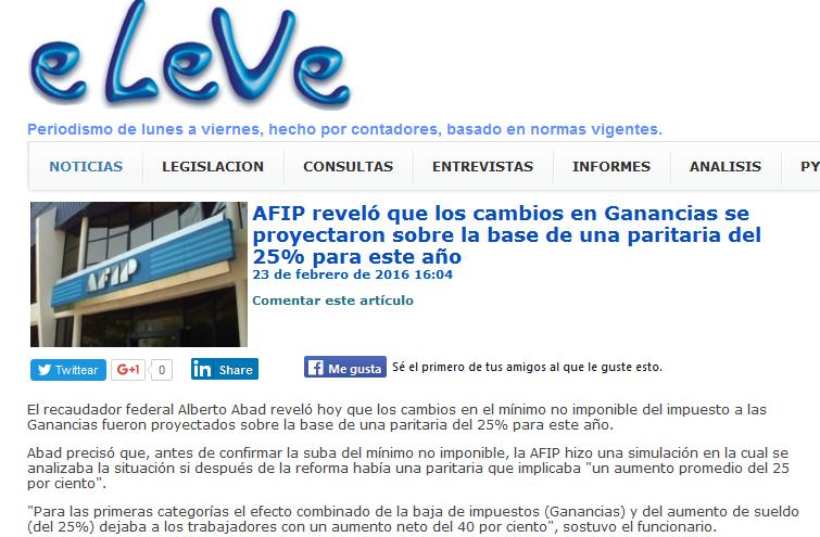 AFIP reveló que los cambios en Ganancias se proyectaron sobre la base de una paritaria del 25% para este año - www.eLe-Ve.com.ar