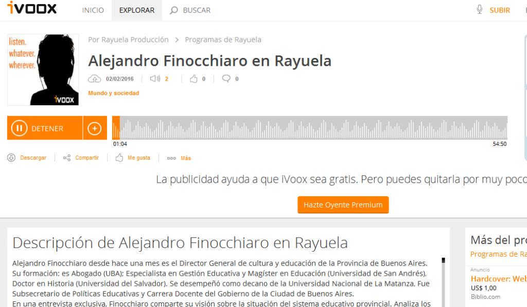 Alejandro Finocchiaro en Rayuela en Programas de Rayuela - iVoox