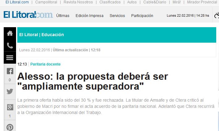 Alesso la propuesta deberá ser 'ampliamente superadora' Diario El Litoral - Santa Fe - Argentina