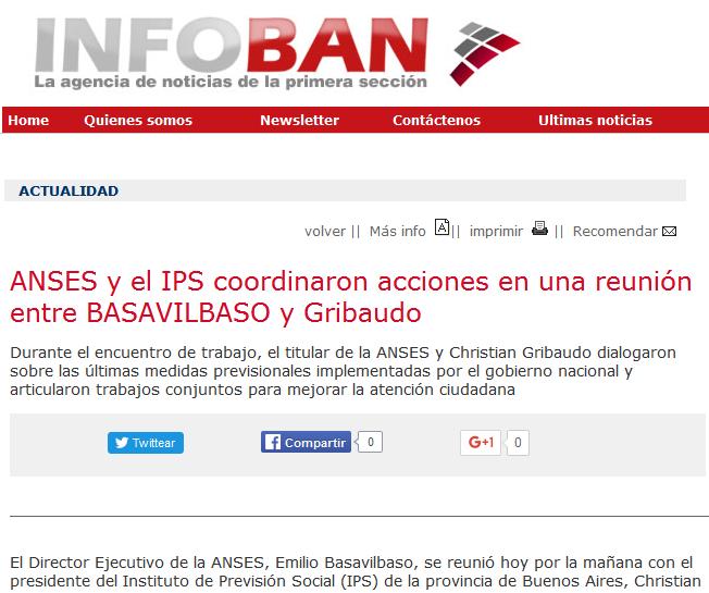 ANSES y el IPS coordinaron acciones en una reunión entre BASAVILBASO y Gribaudo - Agencia de Noticias InfoBAN