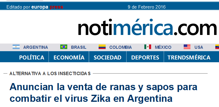 Anuncian la venta de ranas y sapos para combatir el virus Zika en Argentina