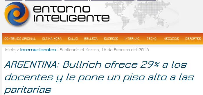 ARGENTINA Bullrich ofrece 29% a los docentes y le pone un piso alto a las paritarias