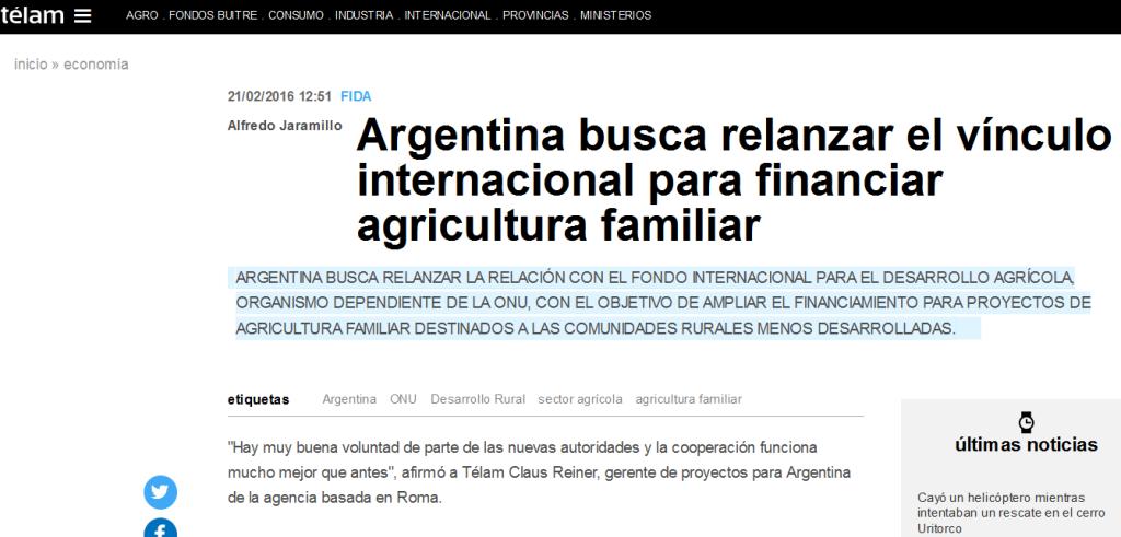 Argentina busca relanzar el vínculo internacional para financiar agricultura familiar - Télam - Agencia Nacional de Noticias