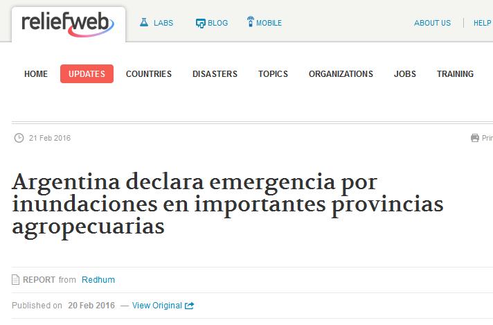 Argentina declara emergencia por inundaciones en importantes provincias agropecuarias - Argentina - ReliefWeb
