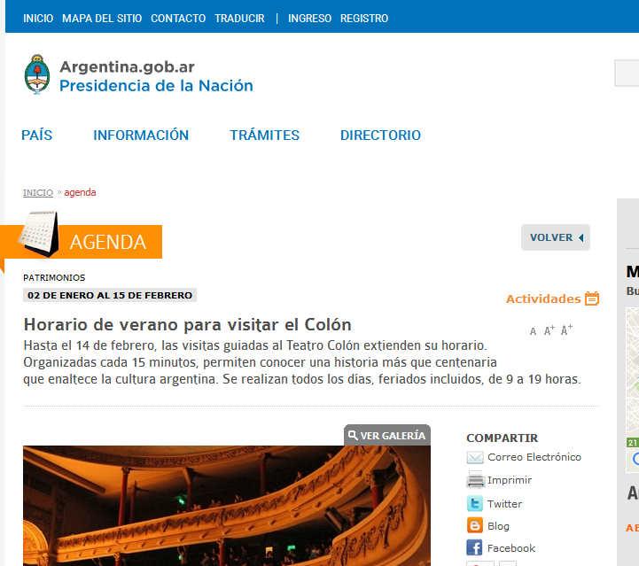 Argentina - Horario de verano para visitar el Colón