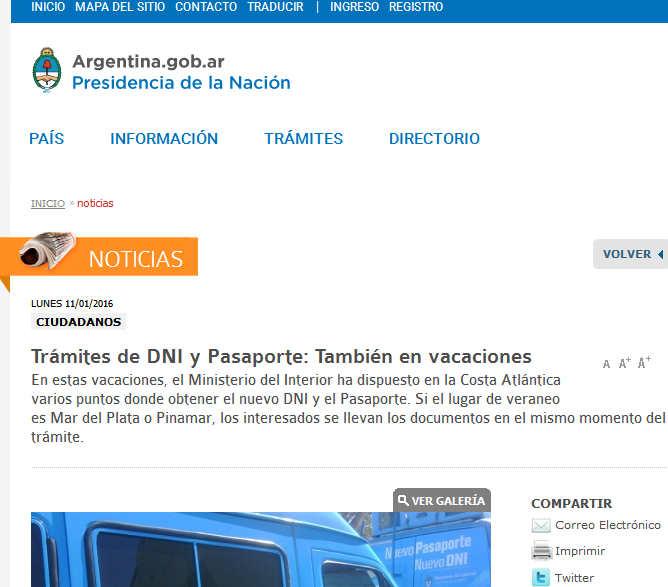 Argentina - Trámites de DNI y Pasaporte También en vacaciones