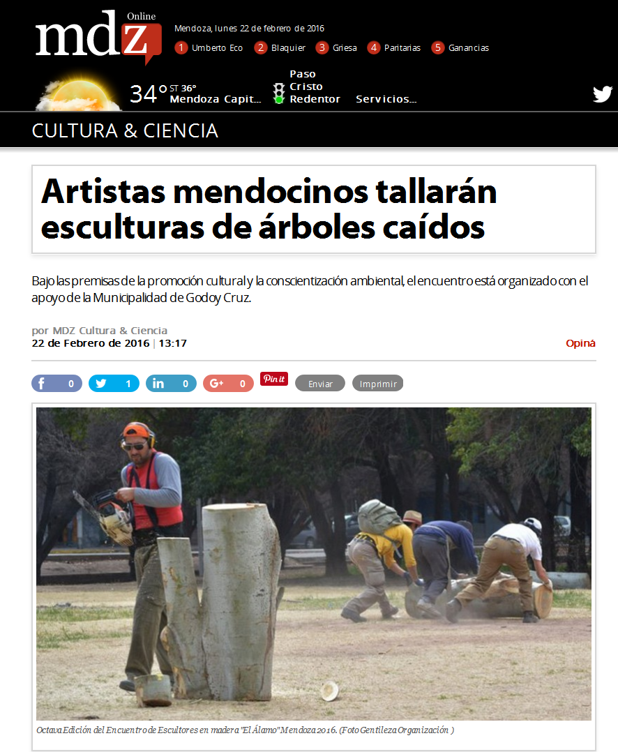 Artistas mendocinos tallarán esculturas de árboles caídos - MDZ Online