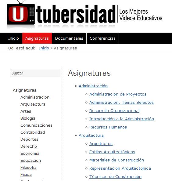 Asignaturas - Utubersidad.com
