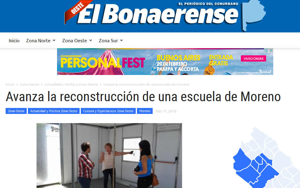 Avanza la reconstrucción de una escuela de Moreno - El Bonaerense