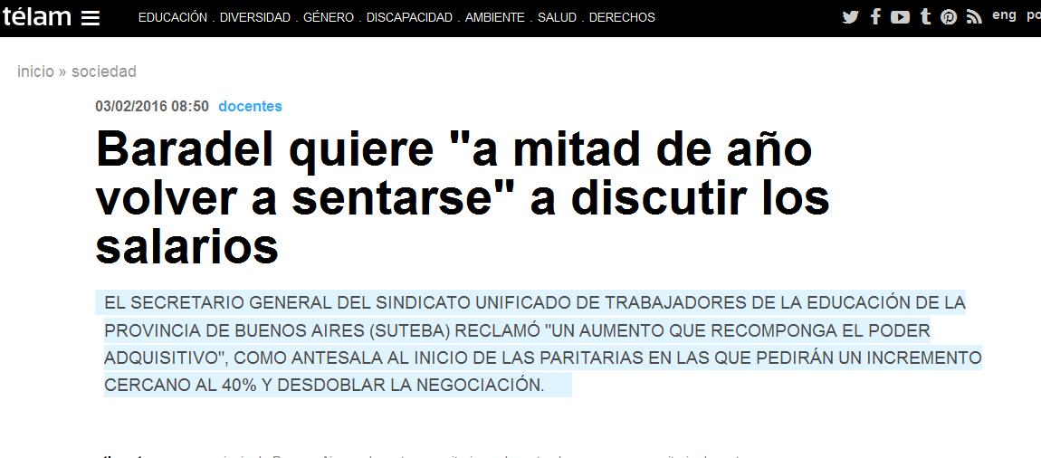 Baradel quiere 'a mitad de año volver a sentarse' a discutir los salarios - Télam - Agencia Nacional de Noticias