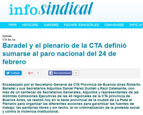 Baradel y el plenario de la CTA definió sumarse al paro nacional del 24 de febrero