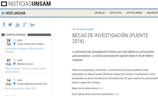 Becas de Investigación (PUENTE 2016) » Noticias UNSAM