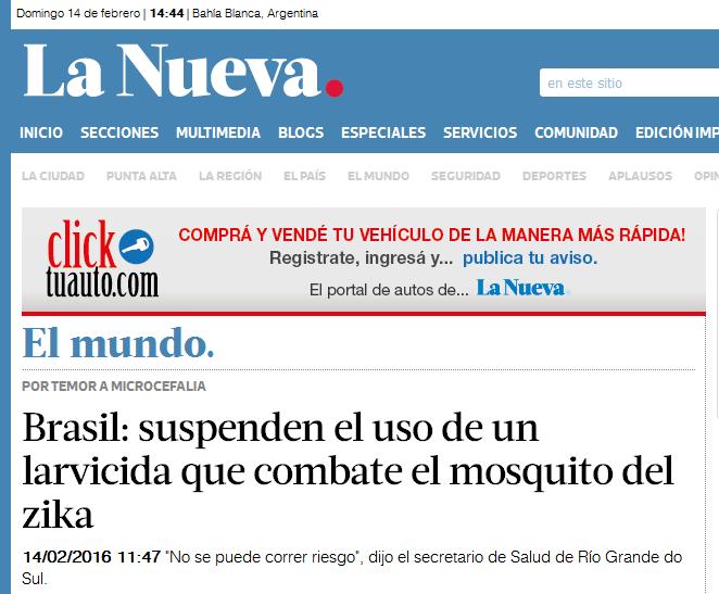 Brasil suspenden el uso de un larvicida que combate el mosquito del zika