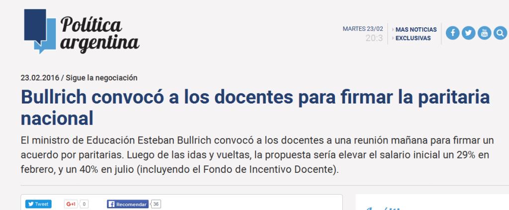 Bullrich convocó a los docentes para firmar la paritaria nacional - Política Argentina