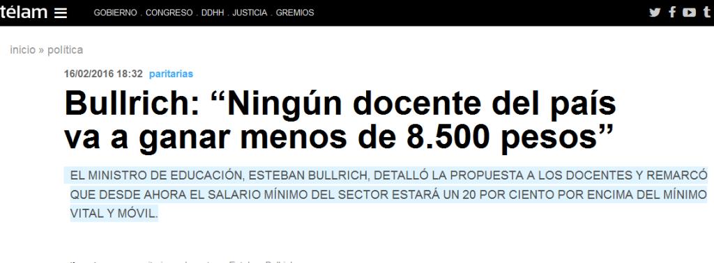 """Bullrich """"Ningún docente del país va a ganar menos de 8.500 pesos"""" - Télam - Agencia Nacional de Noticias"""