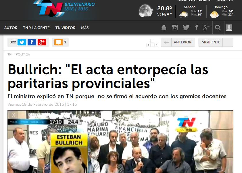 Bullrich 'El acta entorpecía las paritarias provinciales' - TN.com.ar