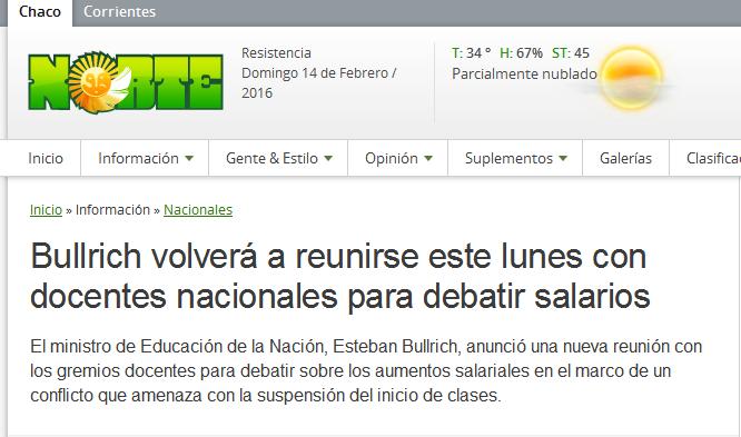 Bullrich volverá a reunirse este lunes con docentes nacionales para debatir salarios - Diario Norte Chaco