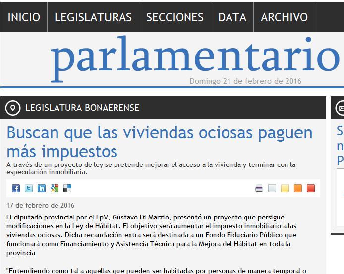 Buscan que las viviendas ociosas paguen más impuestos - Legislatura Bonaerense - Parlamentario(1)