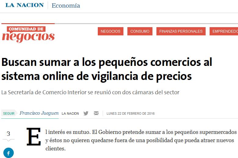 Buscan sumar a los pequeños comercios al sistema online de vigilancia de precios - 22.02.2016 - LA NACION