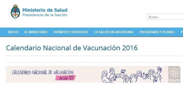 Calendario Nacional de Vacunación 2016