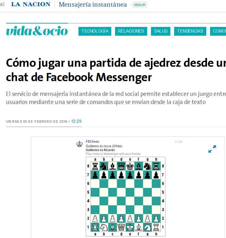 Cómo jugar una partida de ajedrez desde un chat de Facebook Messenger - 05.02.2016 - LA NACION