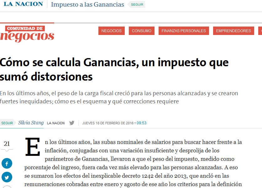 Cómo se calcula Ganancias, un impuesto que sumó distorsiones - 18.02.2016 - LA NACION