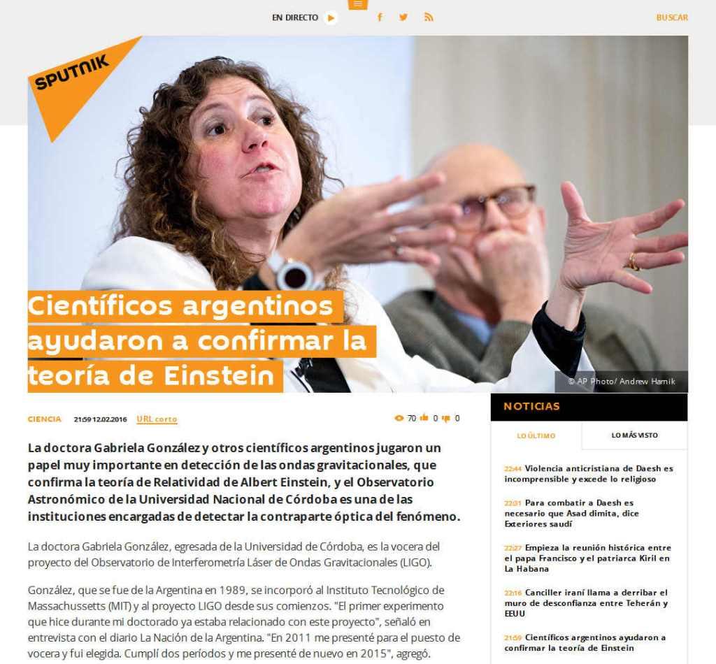 Científicos argentinos ayudaron a confirmar la teoría de Einstein