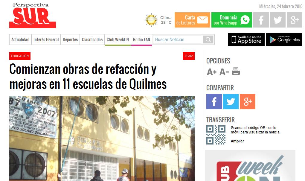 Comienzan obras de refacción y mejoras en 11 escuelas de Quilmes