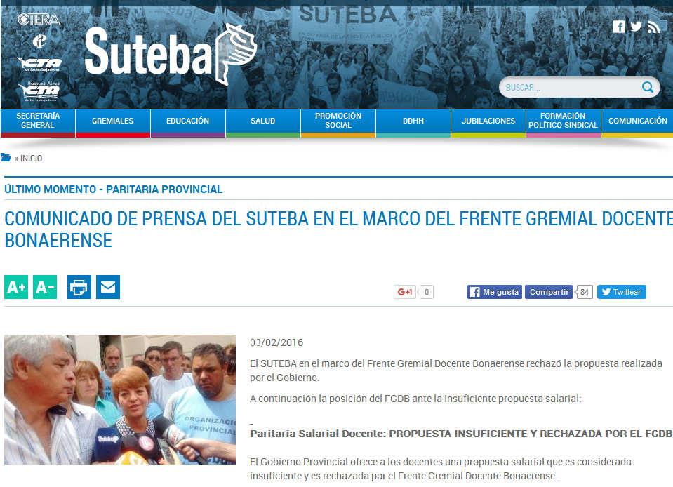 COMUNICADO DE PRENSA DEL SUTEBA EN EL MARCO DEL FRENTE GREMIAL DOCENTE BONAERENSE - Suteba