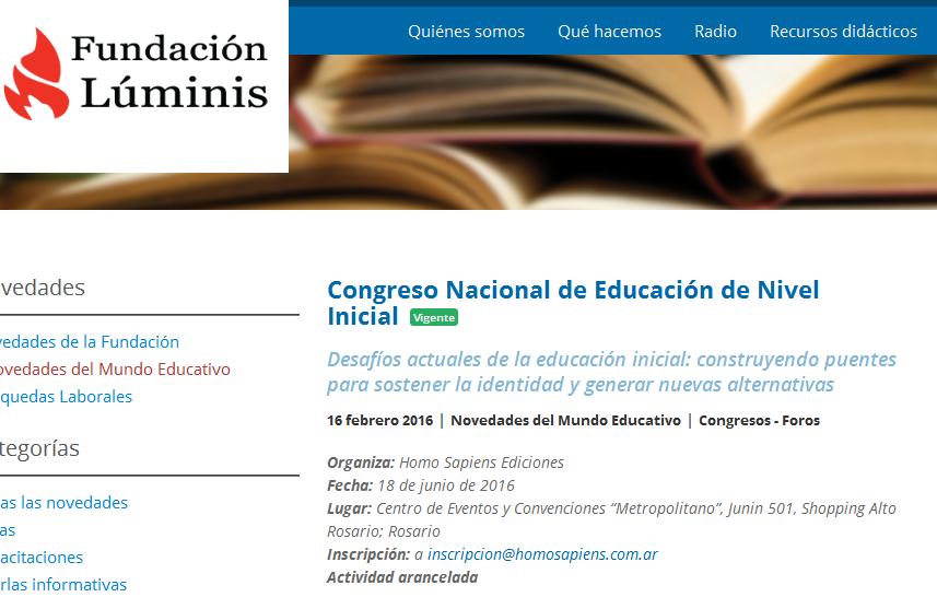 Congreso Nacional de Educación de Nivel Inicial - Fundación Luminis