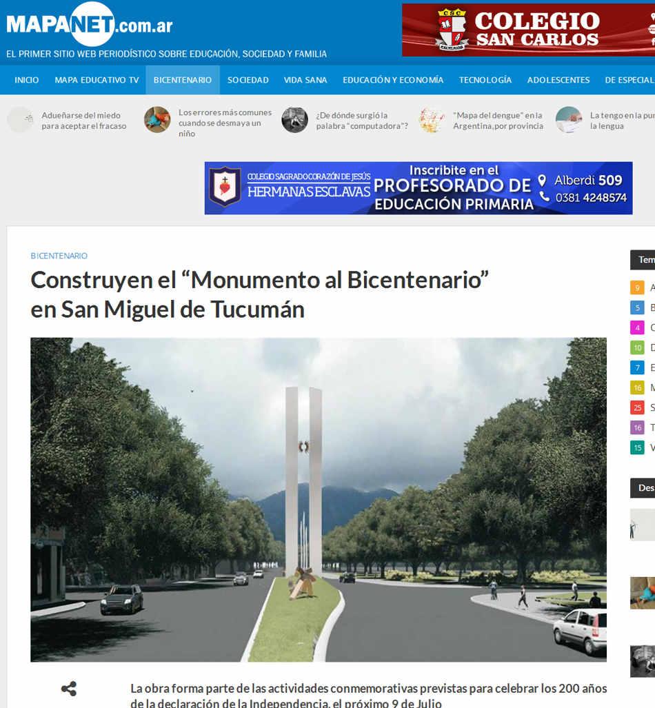 """Construyen el """"Monumento al Bicentenario"""" en San Miguel de Tucumán – MAPANET"""